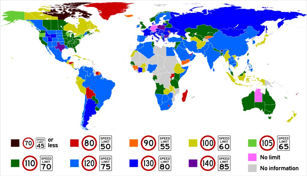 Aká je maximálna povolená rýchlosť vštátoch sveta?