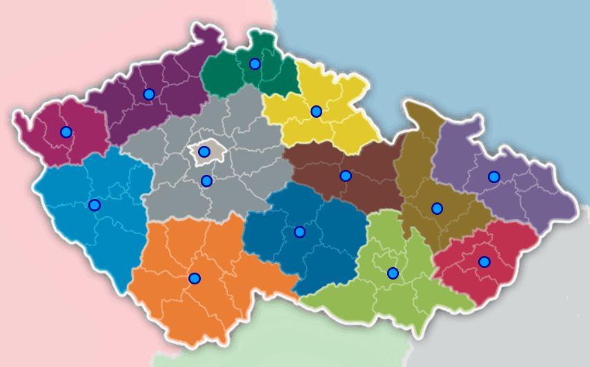 Česko kraje mapa hra