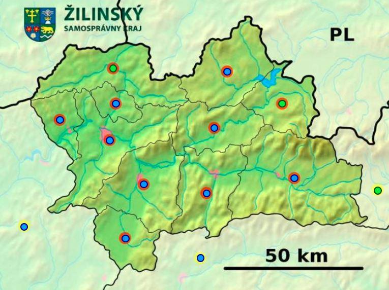 Okresy Žilinského kraja (mapová hra)