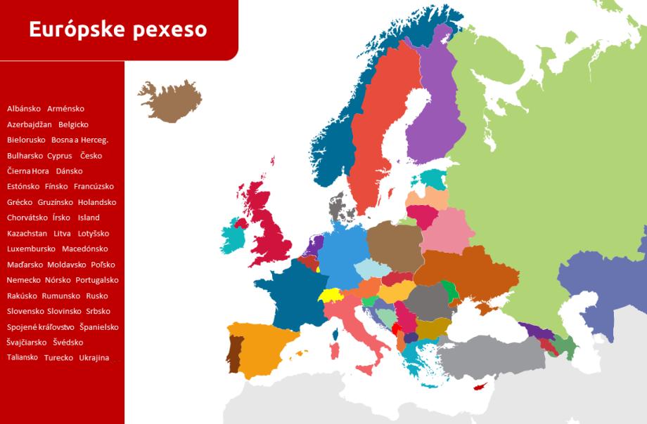 mapové pexeso Európa