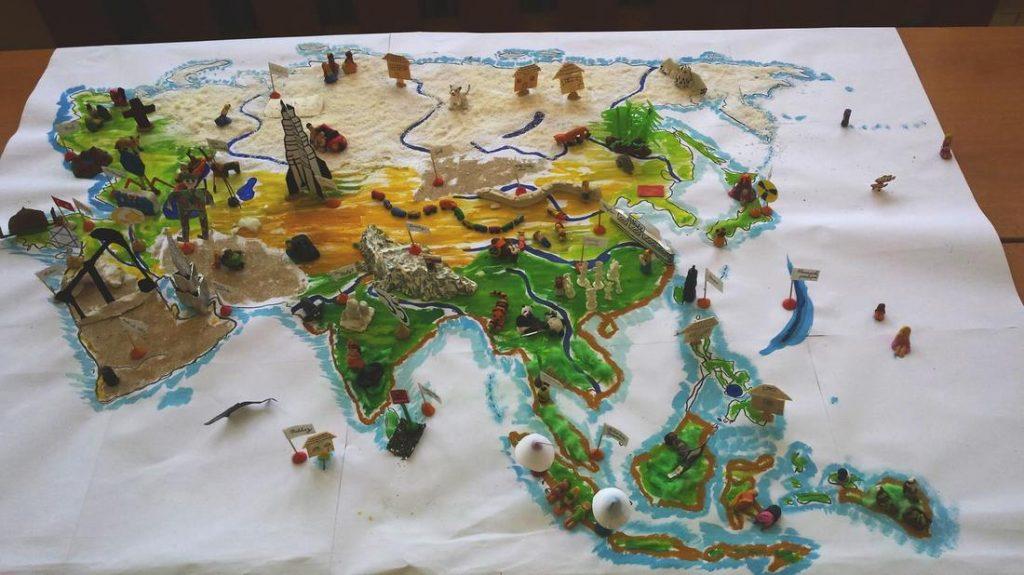 3D mapa Ázie žiacky projekt