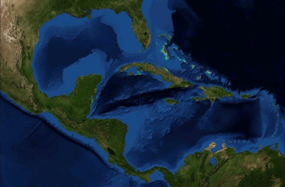 Stredná Amerika a Karibik satelitná snímka