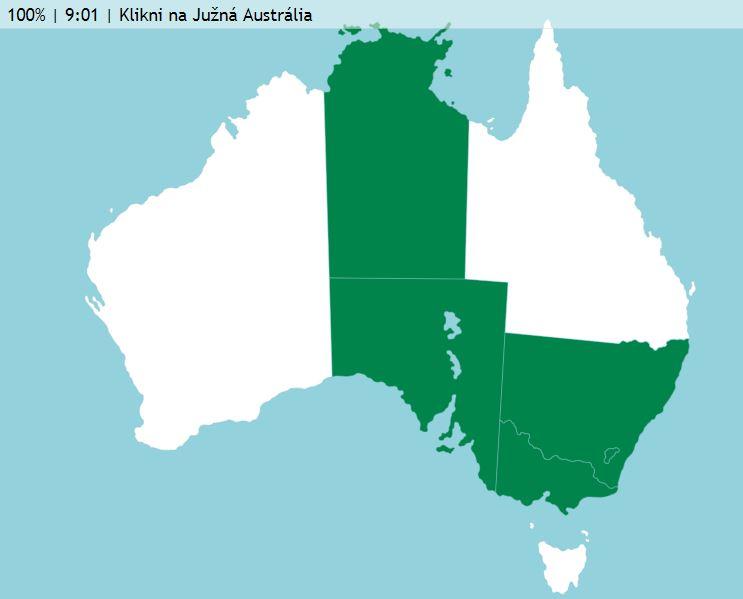 Austrália a Oceánia mapa hra