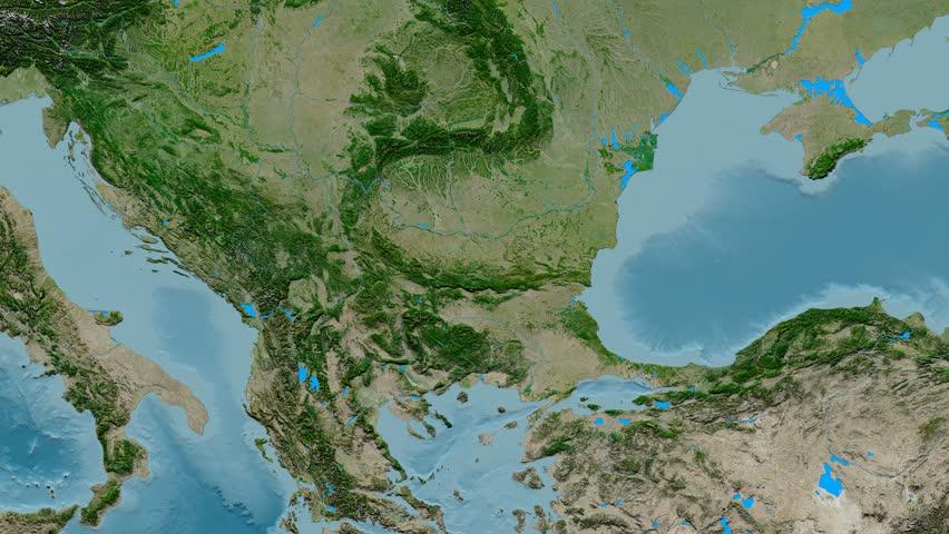 Balkán satelitná snímka