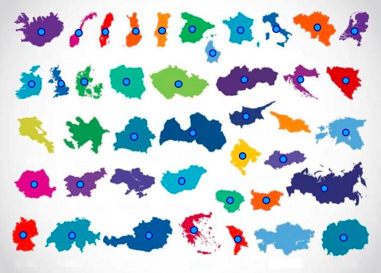 štáty Európy mapová hra