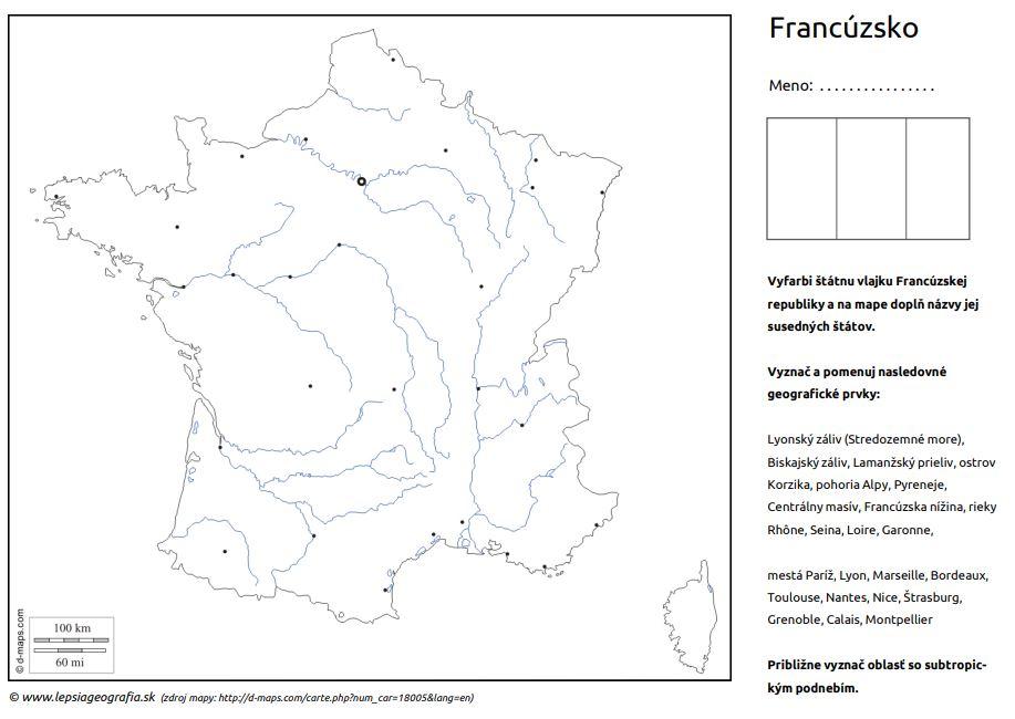 Francúzsko slepá mapa