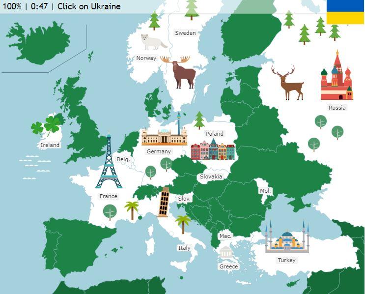 Seterra kreslené mapy