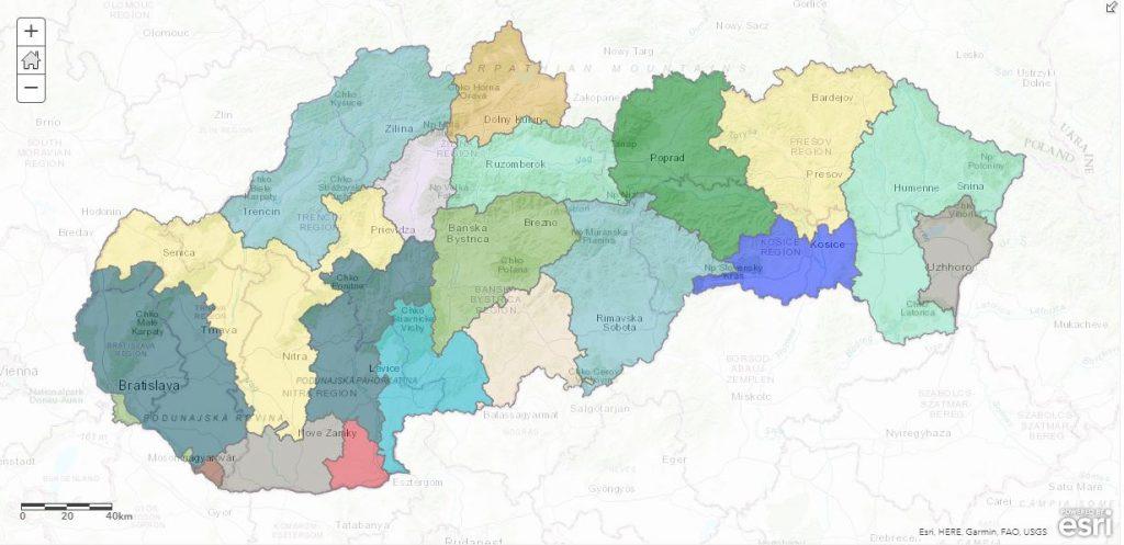 župy Slovensko Rakúsko-Uhorsko mapa