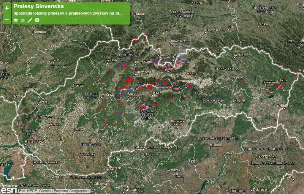 pralesy Slovensko mapa