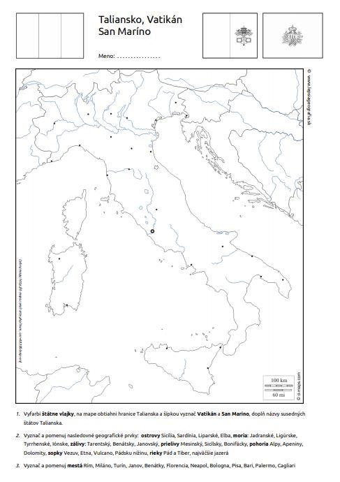 pracovný list Taliansko