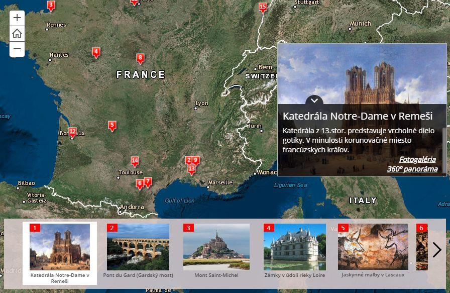 UNESCO pamiatky Francúzska (interaktívna mapa)