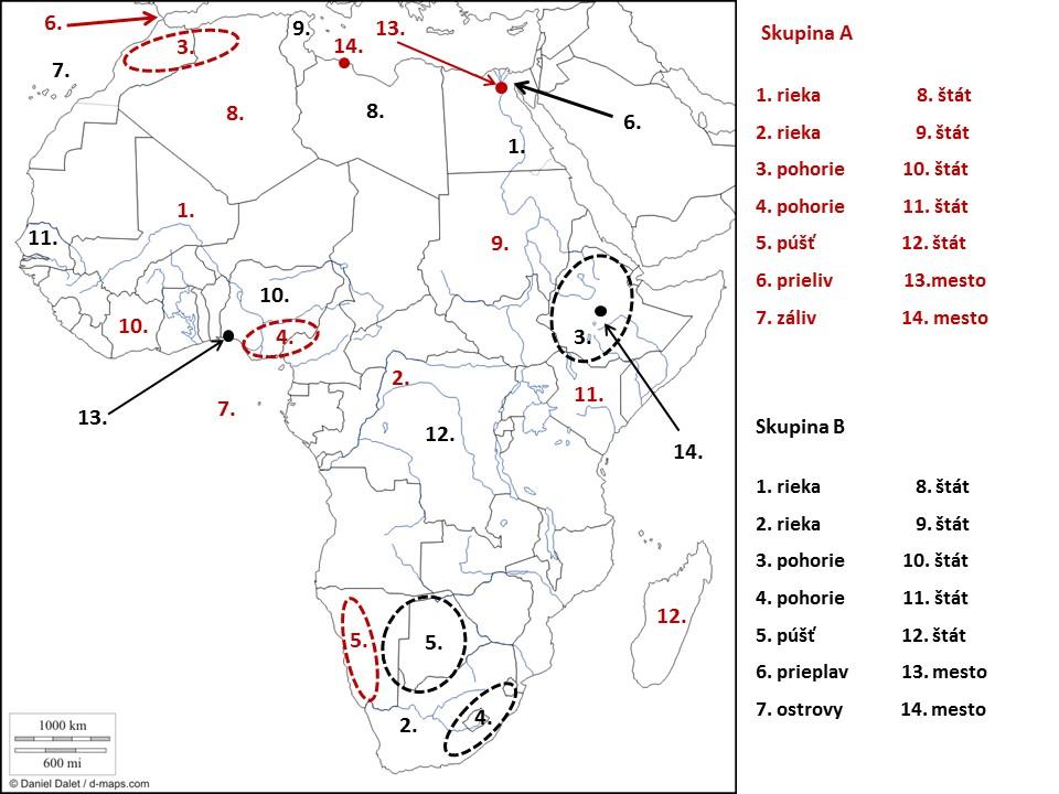 slepá mapa Afrika