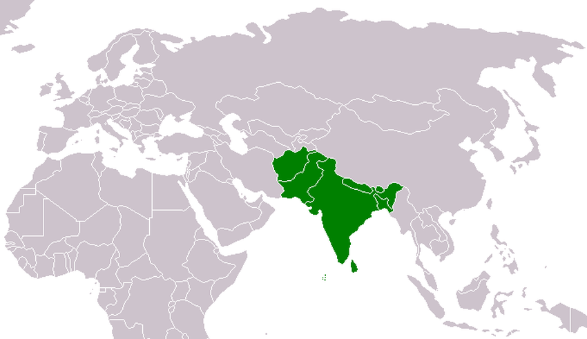 južná Ázia mapa