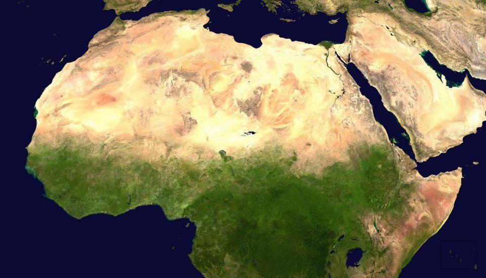 Prírodné pomery Afriky (mapová karta)