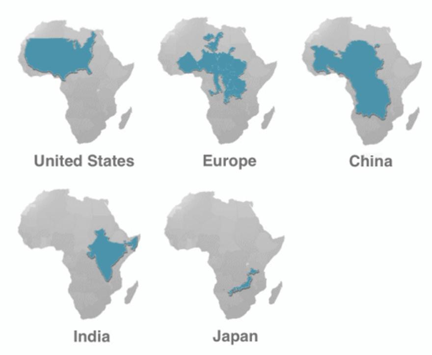 skutočná veľkosť Afriky