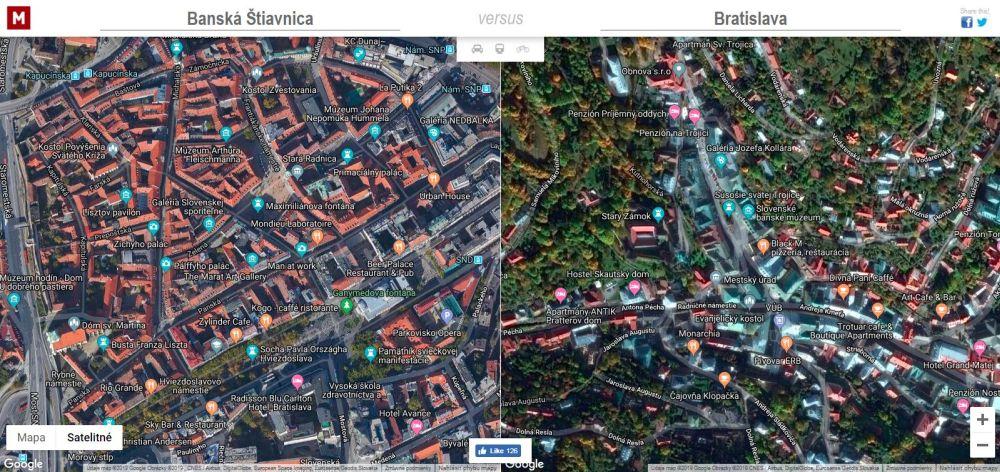 ktoré mesto je väčšie mapa