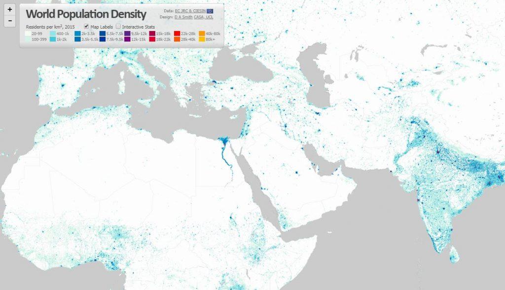 Hustota zaľudnenia Zeme vinteraktívnej mape