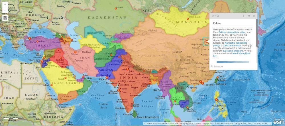interaktívna mapa Ázie