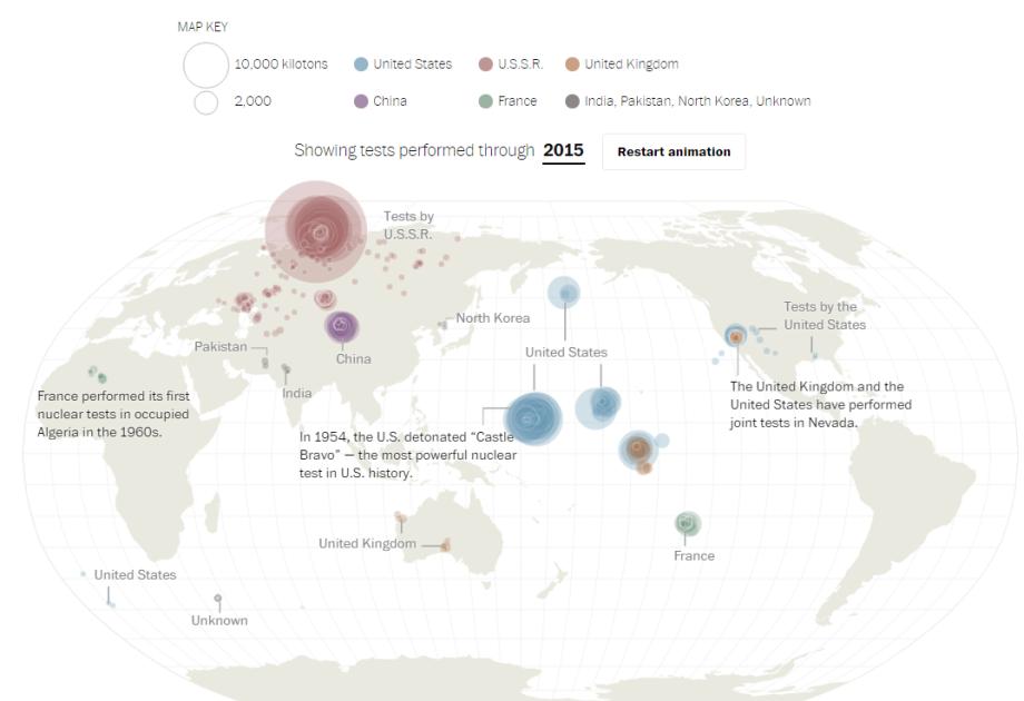 Nukleárne testy odroku 1945. Pozrite sa kde, kto akoľko ich uskutočnil