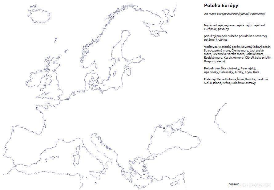slepá mapa Európa