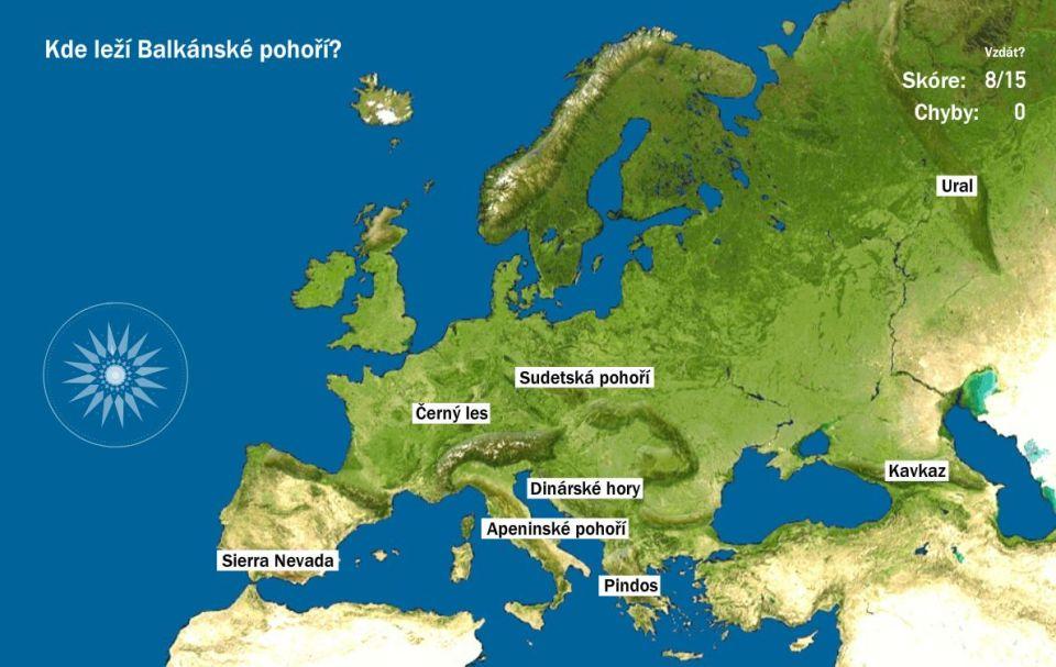 povrch Európy mapa hra