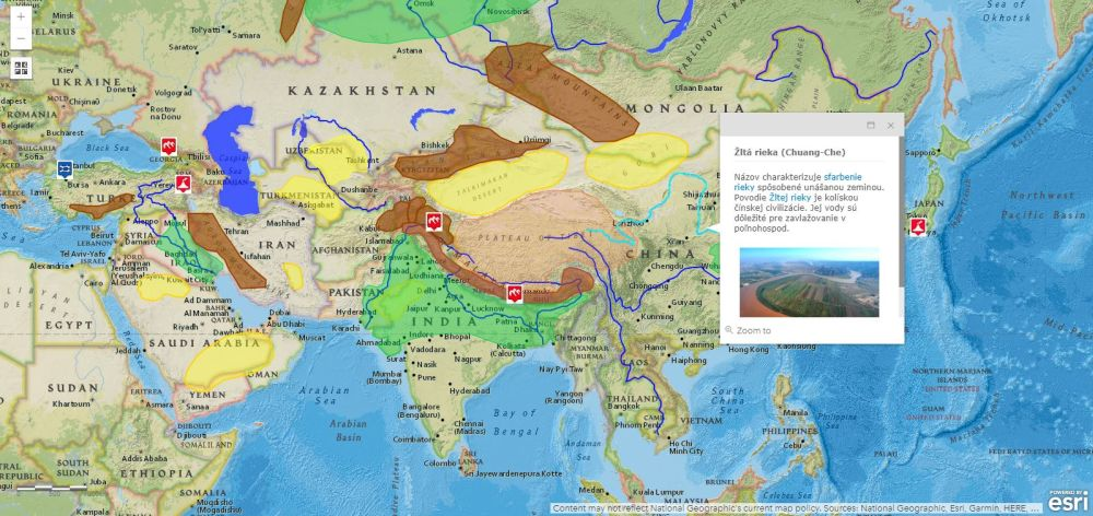interaktívna mapa Ázia
