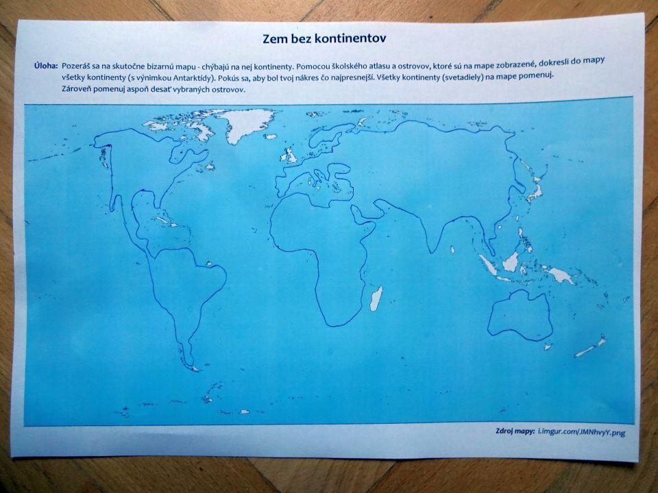zem bez kontinentov mapové cvičenie