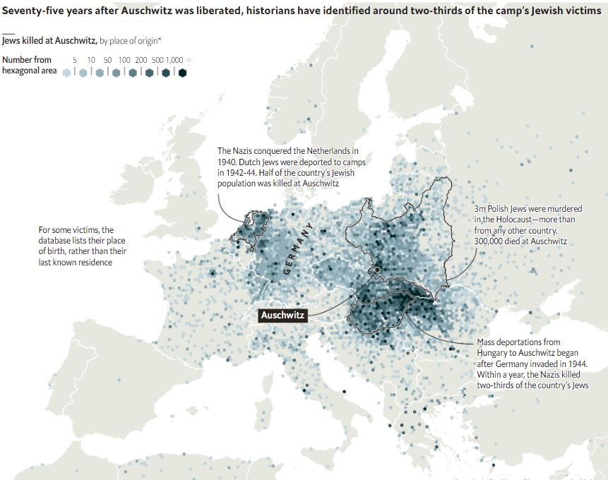 K 75.výročiu oslobodenia koncentračného tábora Auschwitz. Mapa, ktorá zobrazuje pôvod obetí